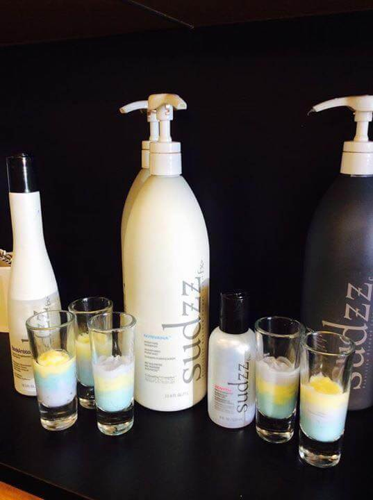 """Belly up to the backbar and have a """"shot"""" of SUDZZfx! Check out this setup from Katee Reddin Petro in Rockaway, New Jersey! On her backbar she promotes our C.P.R. Treatment to client's who need a little dose of renewal during these cold winter months."""